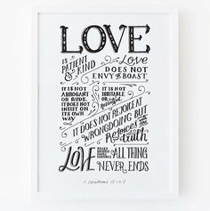 Hand lettered 1 Corinthians 13:4-8 - A4 Print  - Printed on recycled 300gsm premium stock. - Print is signed and stamped on the back. - (Frame not included, fits standard A4…