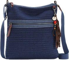 The Sak Denim Crochet Lucia Crossbody Bag Diy Crochet Bag, Hand Crochet, Diy Handbag, Handmade Handbags, Crochet Handbags, How To Make Handbags, Crochet Designs, Cross Body Handbags, Purses And Bags