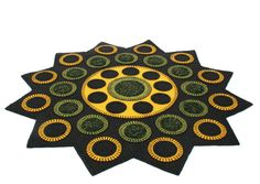 Rudbeckia Penny Rug Finished Design Limited by TwistedKnickersInc