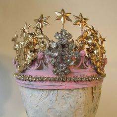 Pink and gold metal crown ornate rhinestone embellished painted shabby cottage statue tiara for figures or home decor anita spero design Metal Crown, Reclaimed Wood Projects, Shabby Chic Cottage, Tiaras And Crowns, Crown Jewels, Vintage Rhinestone, Interior Inspiration, Pink And Gold, Cherubs