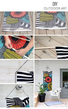 Such a clever idea: crafting outdoor art from a couple of dowels and some pretty waterproof fabric. #DIY