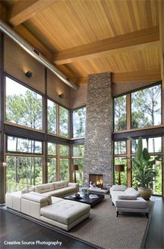 Low Country coastal contemporary: Great Room with plenty of glass for viewing the ocean...