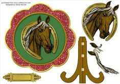 Scalloped Bandana Horse Plate Card  on Craftsuprint designed by Diane Hannah - Scalloped bandana horse plate card includes decoupage elements, a text tag, and a tutorial link. Suitable for many occasions - Now available for download!