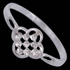 Silver ring, floweret Silver ring, Ag 925/1000 - sterling silver. Rhodium finished. Fine ringlet with stylized flower design with small stars's ornaments. Design width approx. 8mm.