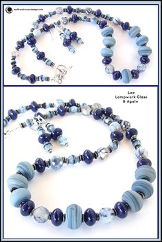 """LEE: Get the cool look of denim with this stylish piece of lampwork glass, ceramic beads, Czech glass and agate. Full length 18""""."""