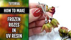 DIY   How to make Earrings - Frozen Roses in UV Resin.