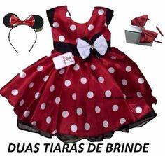 Vestido Infantil Festa Minnie Vermelho Com Tiara Minie - R$ 98,90