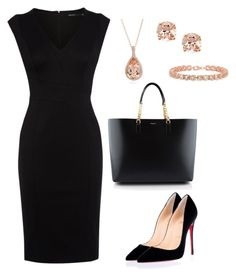 """""""Elegance Black"""" by taniaisabel-1 on Polyvore featuring Karen Millen, Christian Louboutin, Yves Saint Laurent, Blue Nile, Anika and August and YES"""
