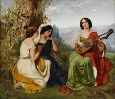 Pickersgill, Frederick Richard (1820-1900) - A romantic scene with girl playing lute, detail