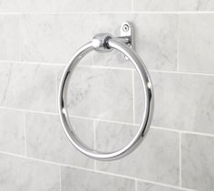 Covington Towel Ring | Pottery Barn, chrome--simple and unobtrusive for side of vanity.  $34