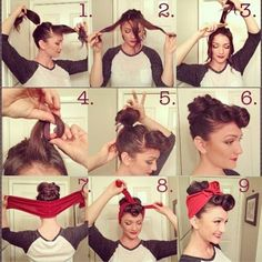 hair with bandana and victory rolls - I could try this....