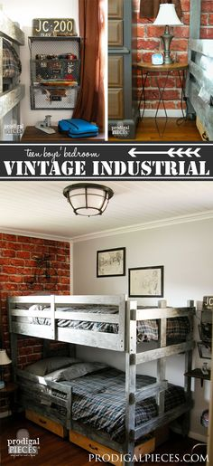 A teen boys' room gets a vintage industrial makeover with faux brick wallpaper, … - Versteckte Räume Teen Boy Bedding, Teen Bedroom, Childs Bedroom, Kid Bedrooms, Girl Rooms, Vintage Room, Bedroom Vintage, Vintage Beds, Bedroom Furniture Makeover