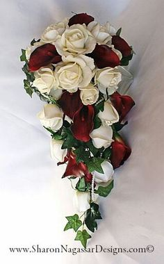 White and dark red cascading bridal bouquet