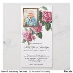 Funeral Thank You Cards Tea Rose & Photo Funeral Card Messages, Funeral Thank You Notes, Funeral Cards, Sympathy Thank You Cards, Photo Thank You Cards, Custom Thank You Cards, Memorial Cards For Funeral, Expressions Of Sympathy, Funeral Arrangements