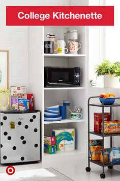 Your college kitchen may be mini, so make it mighty with a fully stocked and styled space.