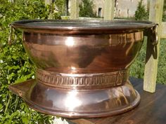 Antique French Copper Pan. HUGE.  French by AngelFrenchAntiques