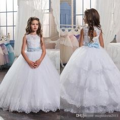 2017 New Princess White Flower Girl Dresses Crew Neck Lace Appliques with Custom Sash Long Kids Formal Party Wears for Weddings Christams Flowers Girl Pageant One Shoulder Online with $87.0/Piece on Magicdress2011's Store | DHgate.com