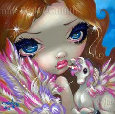 Items similar to Faces of Faery 136 tiny pegasus unicorn big eye fairy face art print by Jasmine Becket-Griffith on Etsy Amy Brown, Illustration Art Dessin, Illustrations, Fairy Pictures, Gothic Fairy, Unicorn Art, Purple Unicorn, Fairy Art, Big Eyes