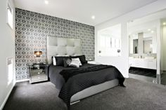 Bedroom. Wonderful Black And White Bedroom Decoration With Geometric Feature Wall Ideas