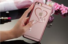 For iphone 5 5s SE 6 6S 6Plus 6SPlus Ultra Thin Clean Soft TPU Crystal Phone Cases Rose Gold Plating Glitter Diamond Cover