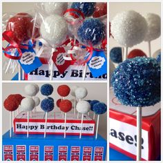 Montreal Canadiens birthday theme with red white and blue cake pops. Chocolate and Red Velvet flavoured. Sugar Me &Cie by Georgia Asimacopoulos. find me on Facebook.