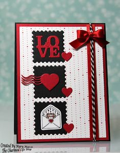 Mary Marsh: The Charmed Life: Love Postage Valentine - 1/328/17  (Cottage Cutz: Love Postage; Sweet Valentines).  (Pin#1: Inchies:  Pin+: Valentines: 3D/Dies...; Dies: Cottage Cutz).