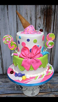 I've Got A Sweet Tooth - cake by Karens Kakes - CakesDecor Candy Theme Cake, Candy Theme Birthday Party, Candy Birthday Cakes, Candy Land Theme, Themed Birthday Cakes, Birthday Cake Girls, Candy Party, Themed Cakes, Birthday Ideas