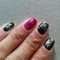 Wet n Wild Black Creme and Orly Risky Behavior, stamped with BornPrettyStore stamping plate BP-48, black stamping polish and China Glaze Millenium.