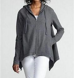 Eileen Fisher HOODED BOXY LONG CARDIGAN ORGANIC Stretch COTTON Jacket Coat S NWT