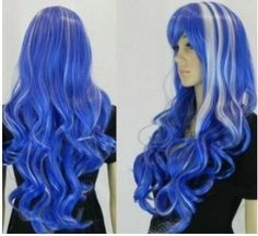 Long curly blue wig with white blonde highlights #costume