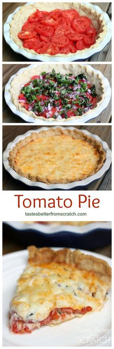 A savory summertime tomato pie with fresh tomatoes, fresh basil, and a delicious cheese mixture spooned over top.