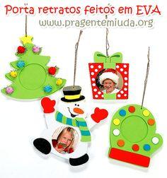 Mais de 20 porta retratos de Natal feitos em EVA   Pra Gente Miúda
