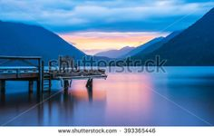 scenic view of pier in lake Crescent when sunset, in Olympic national park,Washington State.Usa