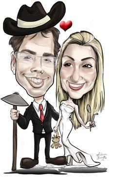 caricatura para convites de casamento com tema, trabalho dos noivos