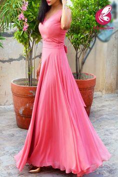 Simple Gown Design, Long Dress Design, Stylish Dress Designs, Indian Gowns Dresses, Pink Gowns, Pink Dresses, Simple Long Dress, Simple Gowns, Long Gown Dress
