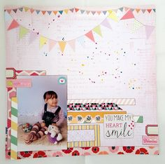 "Scrap Our Stash Challenge: ""You Make My Heart Smile"" Layout by Designer Elena"