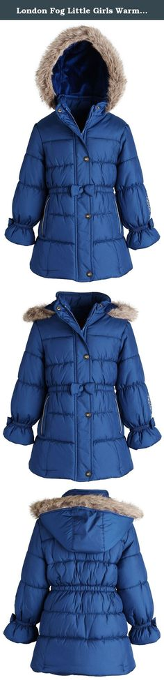 London Fog Little Girls Warm Winter Puffer Jacket with Silky Fleece Lined Hood - Blue (Size 3T). When only the best will do. This puffer jacket by London Fog features a waisted silhouette, decorative bow cuffs, and metalic trimmed welt pockets. Plush fleece lines its back, along with silky fleece lining the hood for warm winter detailing. Zipper-end cover; fully lined. Available in sizes 12 Months to 6X. (For sizes in other ranges, as in Baby/Little/Big Girls, please look for item in...