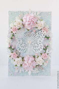 """Открытка """"Бабочка в цветах"""" - бледно-розовый,Открытка ручной работы,открытка"""