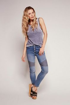 Free People Womens SEAMED MOTO SKINNY - Bohemian Summer Fashion Trend 2017