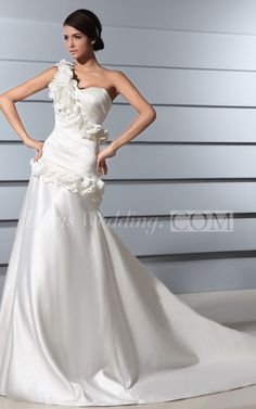 $100.60-One Shoulder Sweetheart Satin A Line Wedding Dress With Flowers. http://www.doriswedding.com/one-shoulder-sweetheart-satin-dress-with-flowers-pGC_705082.html. Follow us and get more wedding ideas and inspiration, wedding dresses for sale, quotes you will love. #DorisWedding.com.