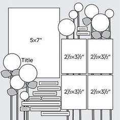 Church Scrapbook Page Layout | Multi-Photo Scrapbook Page Sketches 151-180: Scrapbook Page Sketch 197