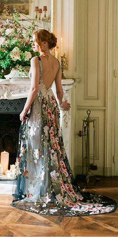 Floral Wedding Dresses That Are Incredibly Pretty ❤ See more: http://www.weddingforward.com/floral-wedding-dresses/ #weddings