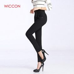 a53a42bf7a672 WICCON New 2018 Women Denim Skinny Ripped Pants High Waist Button Fly  Zipper Fly Stretch Jeans Full Length Slim Pencil Trousers Price  21.99    FREE Shipping ...