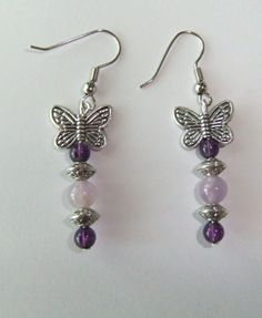 Two Toned Amethyst Gemstone and Butterfly by ShannonsWhimsies, $6.00