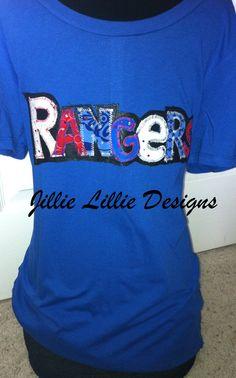Rangers Baseball T Royal Blue Bling Swarovski by JillieLillie 89427825e