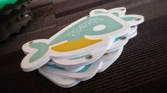 Custom Baby Bump Whale Logos ready to be hung from the ceiling like a baby mobile! #CNC #design #graphic