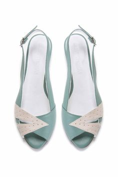 Womens Mint Green and Cream Peep Toe Flat Sandal by OliveThomasShoes
