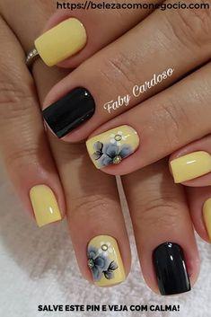 23 Great Yellow Nail Art Designs 2019 - Yellow Nails - Best Nail World Gel Pedicure, Pedicure Designs, Acrylic Nail Designs, Nail Art Designs, Yellow Nails Design, Yellow Nail Art, Es Nails, Hair And Nails, Cute Nails