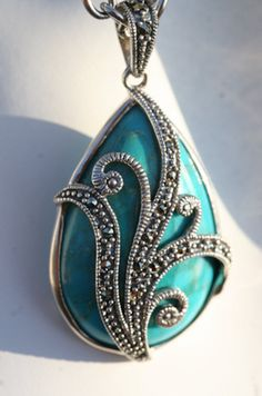 Eva - Turquoise Marcasite Sterling SIlver Necklace / Pendant