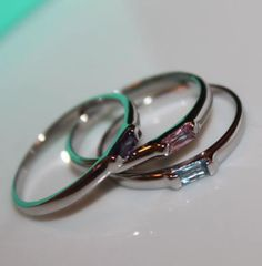 Stackable Birthstone Ring - Sterling Silver